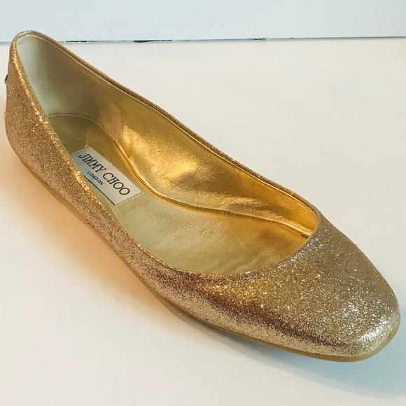 jimmy choo shoes gold glitter ballet flats size 8 poshmark rh poshmark com